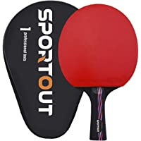 Sportout Sriver-He Rubber Table Tennis Paddle, Professional Pingpong Racket with Case, 9-ply Wood and 8-ply Carbon Blade About 210g