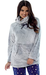 FOREVER DREAMING Ladies Womens Snuggle Top Shawl Collar Fleece Pouch Pockets