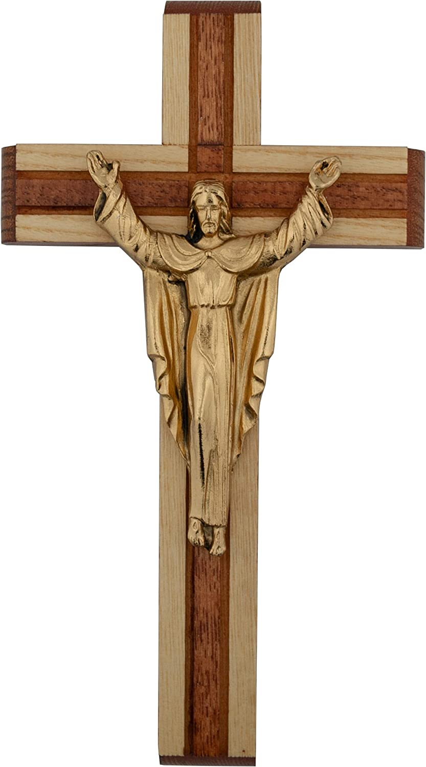 Wood Wall Cross | Gold-Tone Risen Jesus | Two-Tone Wood | Great Gift for First Communions, New Home and Weddings | Christian Catholic Home and Office Goods