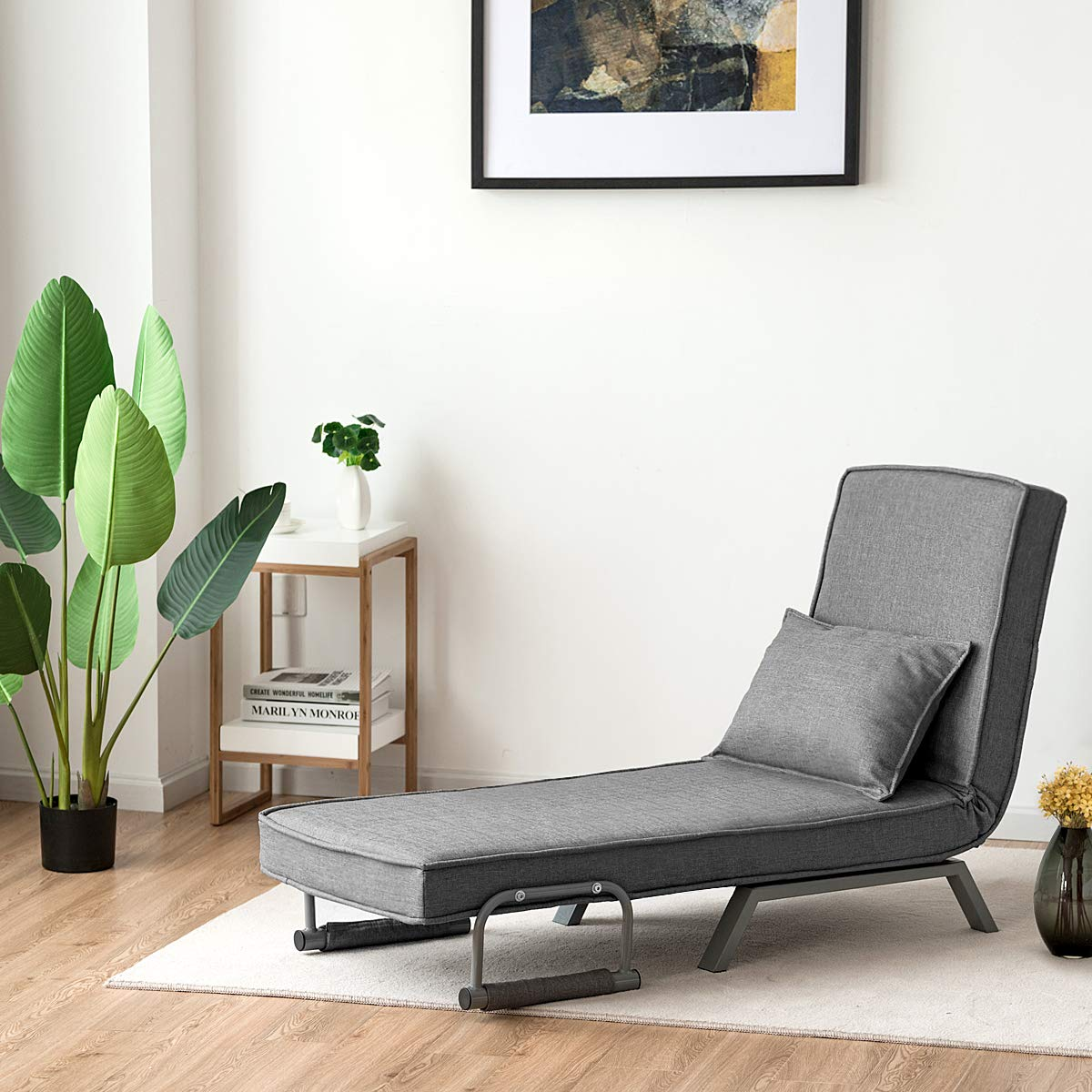 Giantex Convertible Sofa Bed Folding Arm Chair Sleeper Gray Mental Frame with Detachable Armrest Cover Home Office Furniture with Pillow 5 Position Recliner Full Padded Lounger Couch Bed