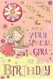 Sister 2nd Birthday Card Badge