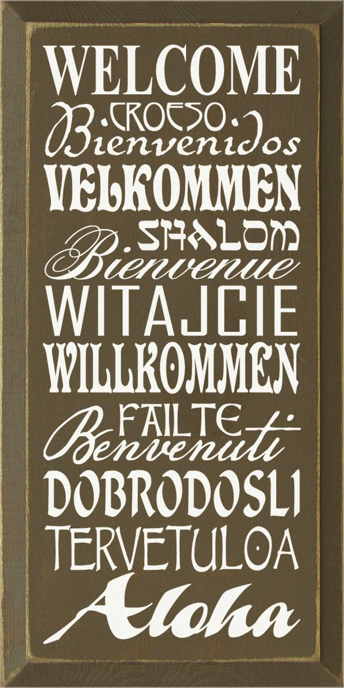 Amazon.com: Cartel de madera, Bienvenido en varios idiomas ...