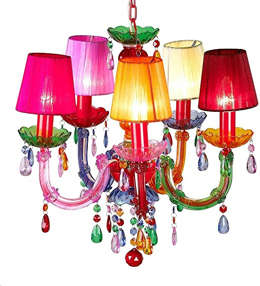 BeadedString Gypsy Chandelier-Acrylic Bead-Shaded Pendant Light Multi-Colored