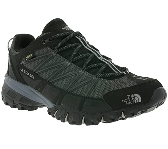 The North Face Mens Ultra 110 Gore Tex Trail Hiking Walking Sneakers - Black/Dark Shadow Gray - 8