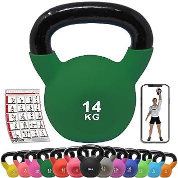 POWRX Kettlebell Hierro Fundido 14 kg - Pesa Rusa con ...