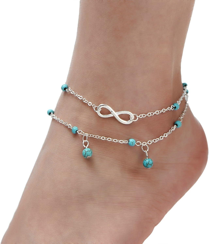 AmDxD Femme Plaqu/é Or Bracelets de Cheville Turquoise Figure 8 Perles Cha/îne de Pied