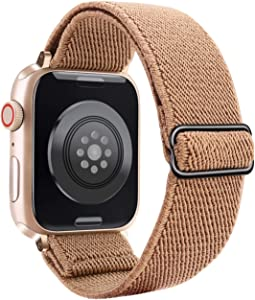 JOHIPI Stretchy Nylon Solo Loop Bands Compatible with Apple Watch Band 38mm 40mm 42mm 44mm, iWatch Adjustable Stretch Braided Sport Elastics Velcro Women Men Strap For Apple Watch Series 6 5 4 3 2 1 SE (Rose Gold, 38mm/40mm)