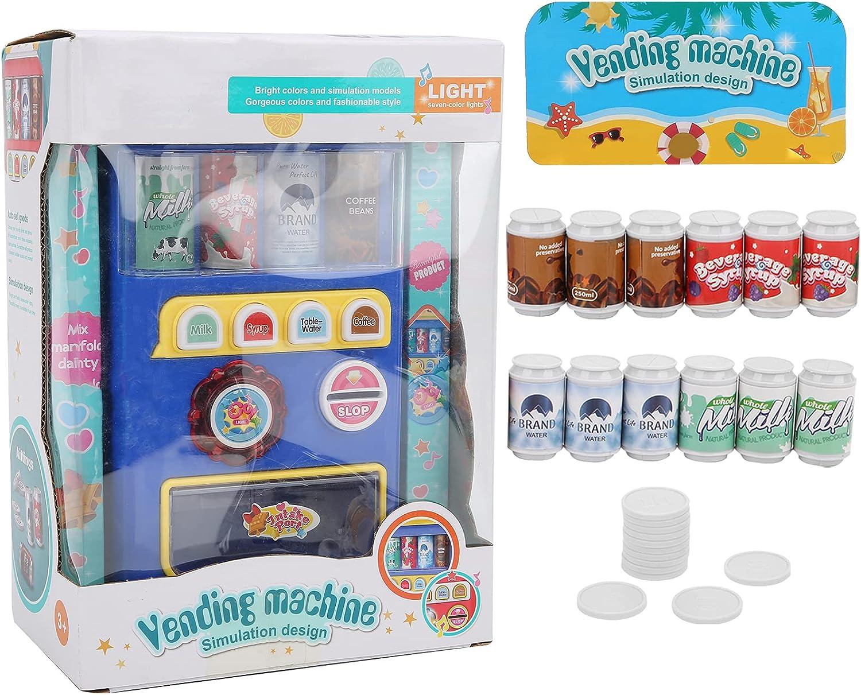 Tnfeeon Mini máquina expendedora de simulación, Juguete, Juego de rol, máquina de Bebidas, Juego con música Ligera(Azul)
