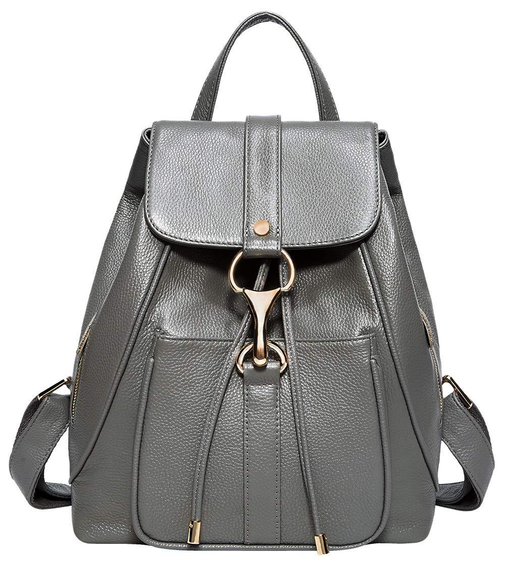 BOYATU Real Leather Backpacks Purse for Women Ladies Fashion Travel Shoulder Bag (Grey)
