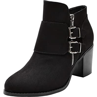 Women s Wide Width Ankle Boots - Low Chunky Heel Foldover Buckle Zipper  Martin Boots bd450ae915f