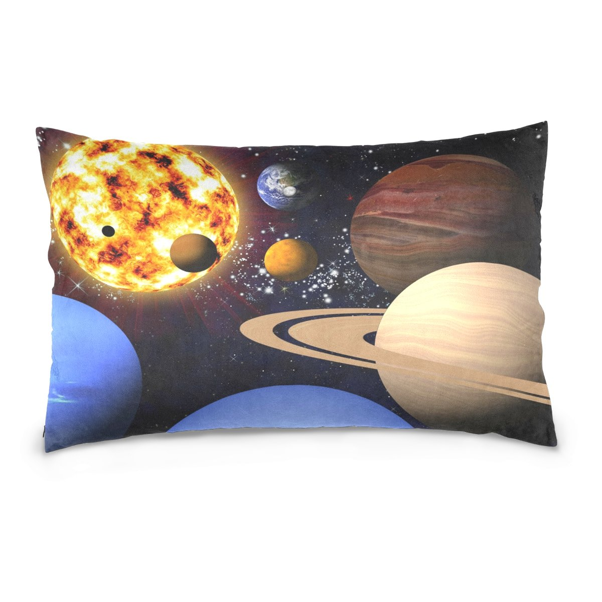ALAZA Outer Space Solar System Cotton Lint Pillow Case,Double-sided Printing Home Decor Pillowcase Size 16''x24'',for Bedroom Women Girl Boy