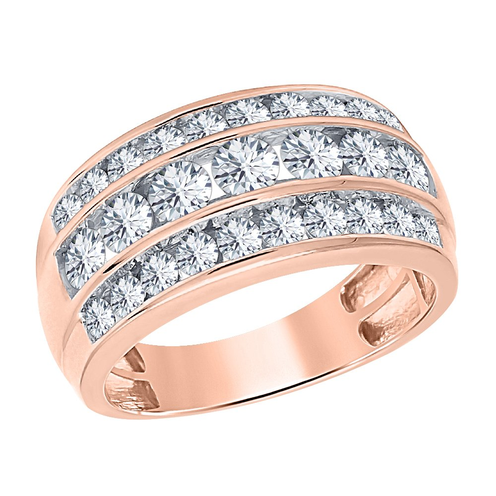 SVC-JEWELS 14K Rose Gold Plated 3.00ctw Round White Simulated Diamond Three Row Wedding Band Ring For Mens