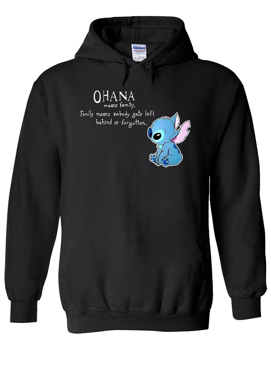 Disney Lilo and Stitch Ohana Cool Novelty Black Men Women Unisex Hooded Sweatshirt Hoodie