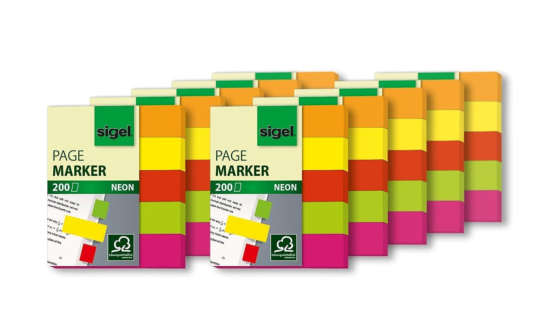 Se/ñalizadores de Quita y Pon S/ímbolo 20 x 50 mm Sigel HN635//1 color amarillo//naranja//verde//fucsia 160 hojas