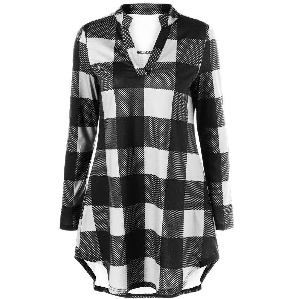 FEDULK Women's Plaid Print Plus Size V Neck Long Sleeve Casual Tops Classic Vintage Blouse Shirt(White, US Size L = Tag XL)
