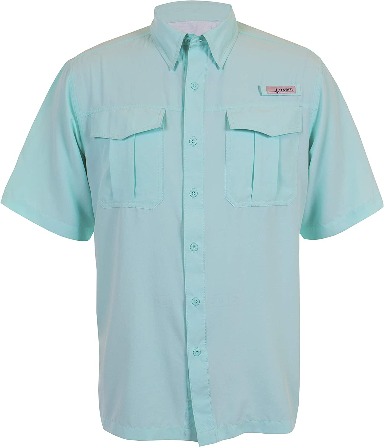 HABIT Men's Standard Belcoast Short Sleeve River Guide Fishing Shirt, Aruba Blue, Small