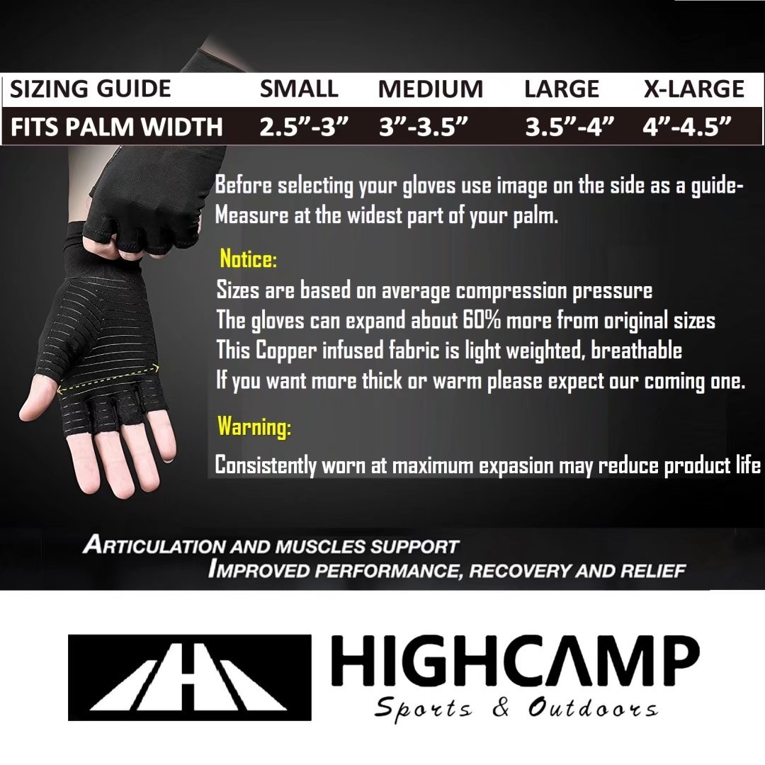 Arthritis Gloves Women- Copper Gloves For Men- Compression Gloves Recovery & Relieve For Arthritis, RSI, Carpal Tunnel, Swollen Hands, Tendonitis, Everyday Support & More- Fingerless Gloves/ Black/ L by Highcamp (Image #4)