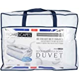 Homescapes Double 10.5 Tog New White Duck Feather & Down Duvet - 100% Cotton Anti Dust Mite & Down Proof Cover - Anti allergen - Washable at Home Luxury Quilt