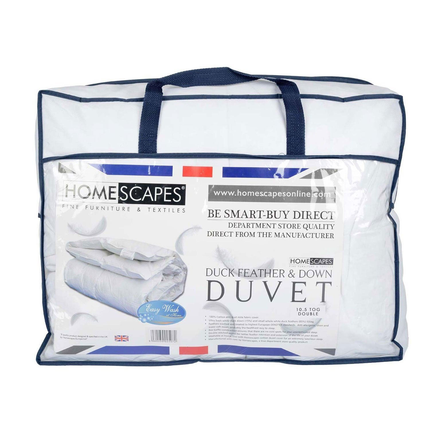 Homescapes Single 10.5 Tog New White Duck Feather & Down Duvet - 100% Cotton Anti Dust Mite & Down Proof Cover - Anti allergen - Washable at Home Luxury Quilt Others