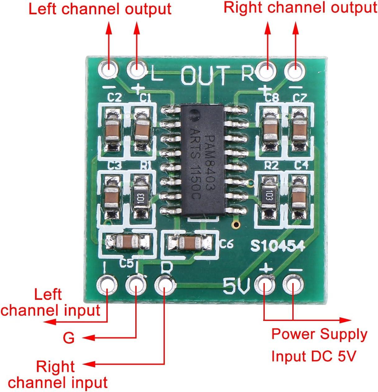 iHaospace 5X PAM8403 Stereo Amplifiers Super Mini 5V Digital Amplifier Board 3W+3W DC 5V Audio Amplifier Handy Digital Power Amp Module TE664