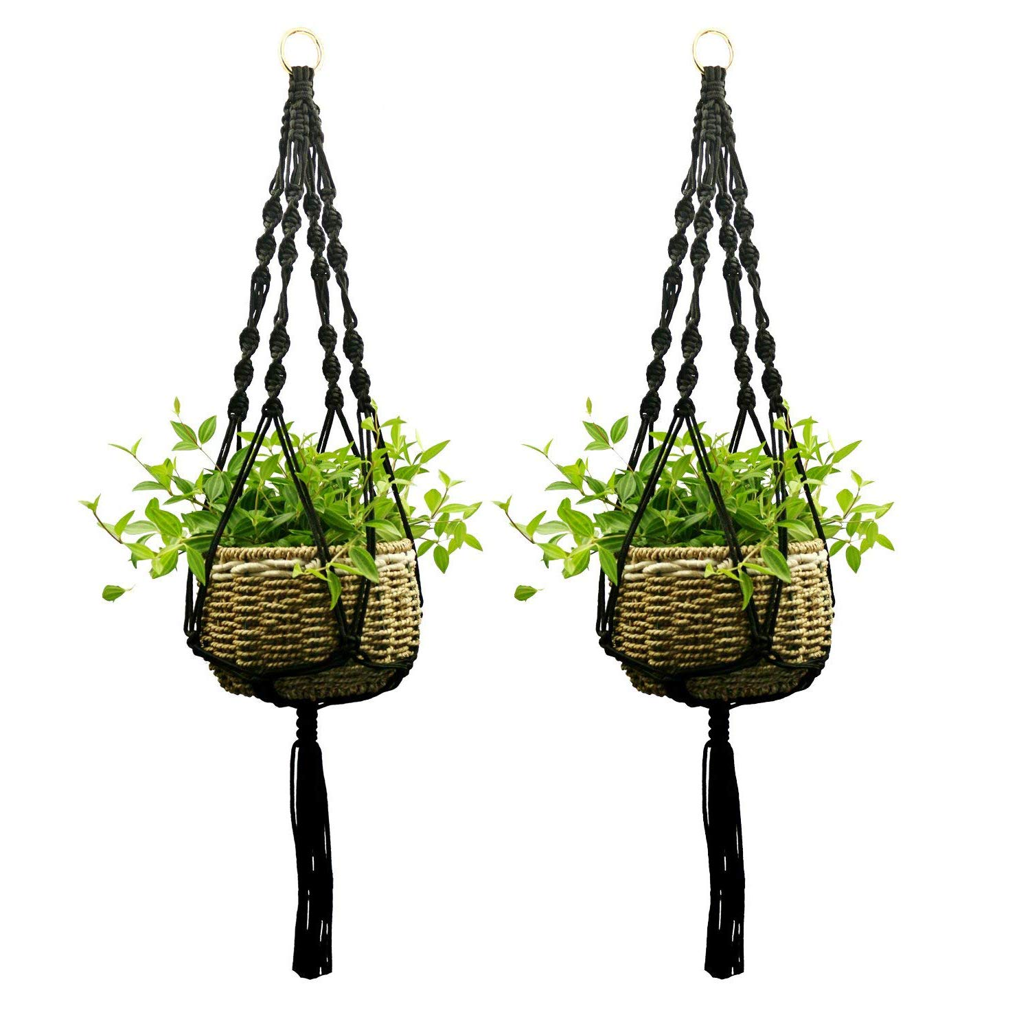 Plant Hangers, ETSAMOR 6pcs 3 Sizes Hanging Planter Basket Rope Holder and 6 pcs Ceiling Hook with Key Ring for Indoor Outdoor Plant Decorations