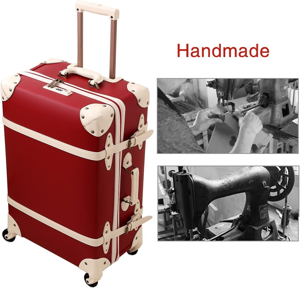 Student Suitcase PU Leather Trolley Case with Universal Wheel TSA Lock Red 24