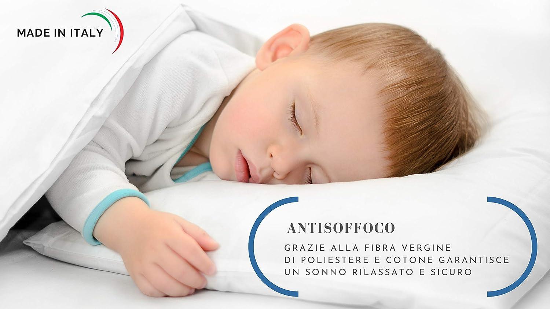 Baby Nanna hipoalerg/énica Coj/ín antiasfixia ideal para cuna de beb/é y cuna de beb/é talla 40 x 30. Transpirable y antireflujo Minialmohada de algod/ón lavable 100/% italiana