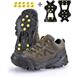 XZSUN Ice cleats,Snow Ice Traction Shoe Boot Cleats, Anti Slip 10-Studs TPE Rubber Crampons with 10 Extra Studs for Footwear(Sizes: S/M/L/XL )