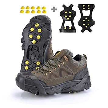24d0a4a7607 XZSUN Ice cleats,Snow Ice Traction Shoe Boot Cleats, Anti Slip 10-Studs
