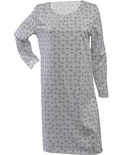 5af8226c97 Waites Ladies 100% Jersey Cotton Nightdress Dotty Circle Pattern Long  Sleeve Nightie (Blue or
