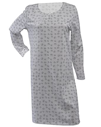 ee19ae5afe Waites Ladies 100% Jersey Cotton Nightdress Dotty Circle Pattern Long  Sleeve Nightie UK 14