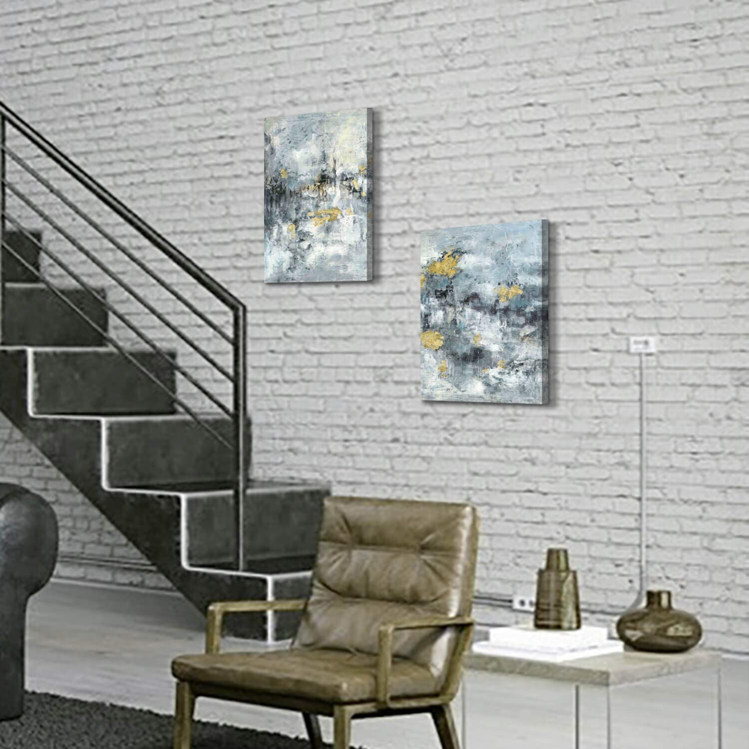 Abstract Mountain Painting Canvas Artwork Blue /& Gray Abstract Textured Wall Art with Gold Foils Picture for Dining Room 24 x 18 x 1 Panel