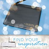 Darice VL35928, Guest Book with Pen, Black Gold