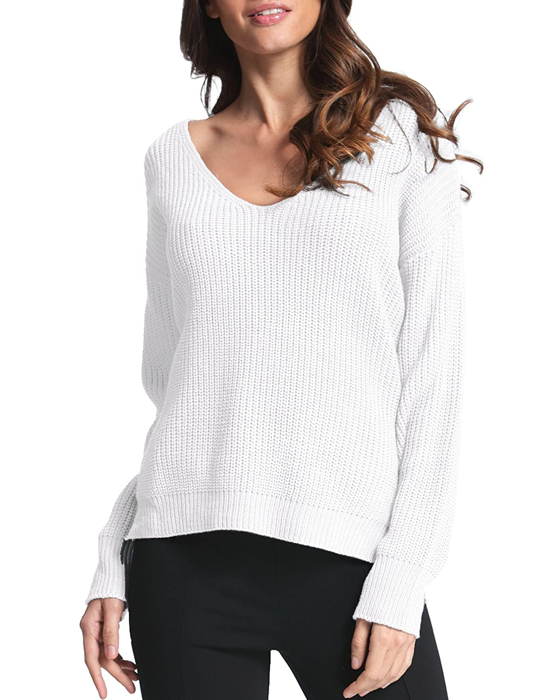 Buy SUNNYME Women's Long Sleeve Sweater V Neck Pullover