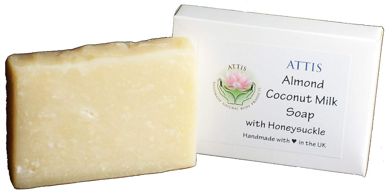 Attis aceite de coco, leche de almendras,, madreselva,, avena, leche y miel Natural hecho a mano jabón | Vegan: Amazon.es: Juguetes y juegos