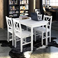 Wooden Table with 4 Wooden Chairs Furniture Set White Dining Table Set in Dining Room or Kitchen
