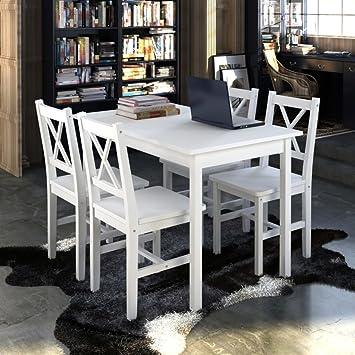 Amazon De Holztisch Mit 4 Stuhlen Esstisch Set Weiss Esszimmer Set