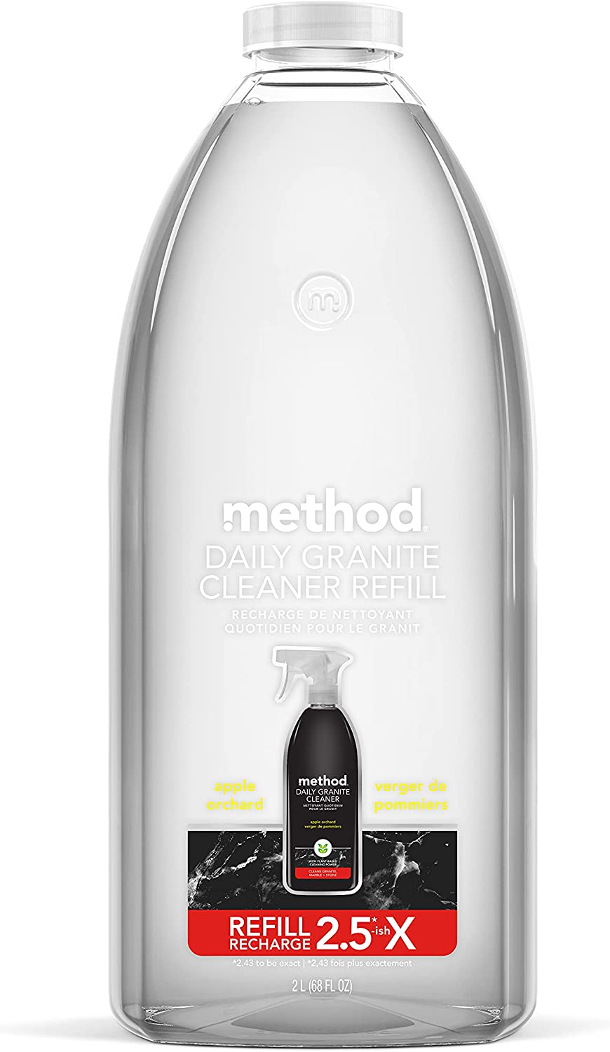 Method Daily Granite Cleaner Refill, Apple Orchard, 68 Ounce, 1 pack, Packaging May Vary