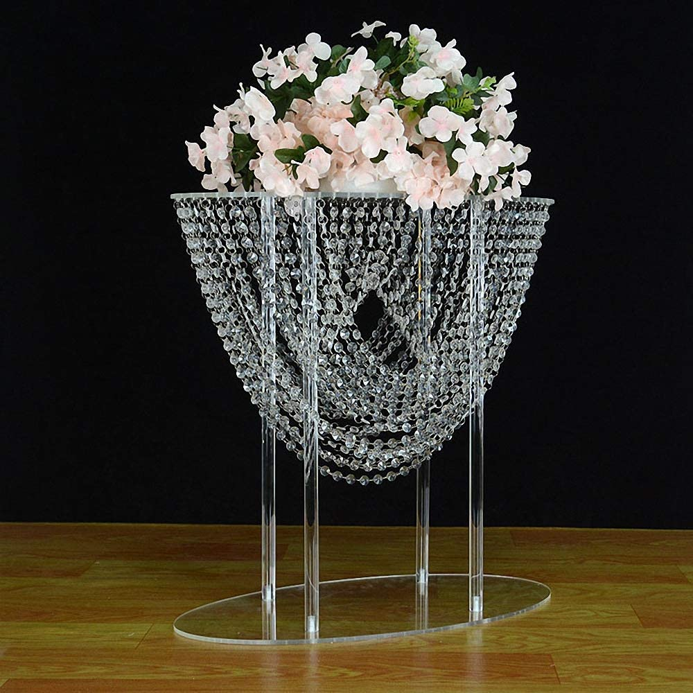 Everbon Pack of 4 23.6 Inches Tall Flower Stand Acrylic Wedding Centerpieces Marriage Clear Display Rack Table Decoration Backdrop Stage Decor Event Party Supplies