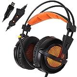 Sades A6 Cuffie Gaming USB 7.1 Surround Sound Cuffie Gioco con Microfono Cancellazione del Rumore Controllo Volume Luci LED per PC Gamer da AFUNTA-Nero+Arancione