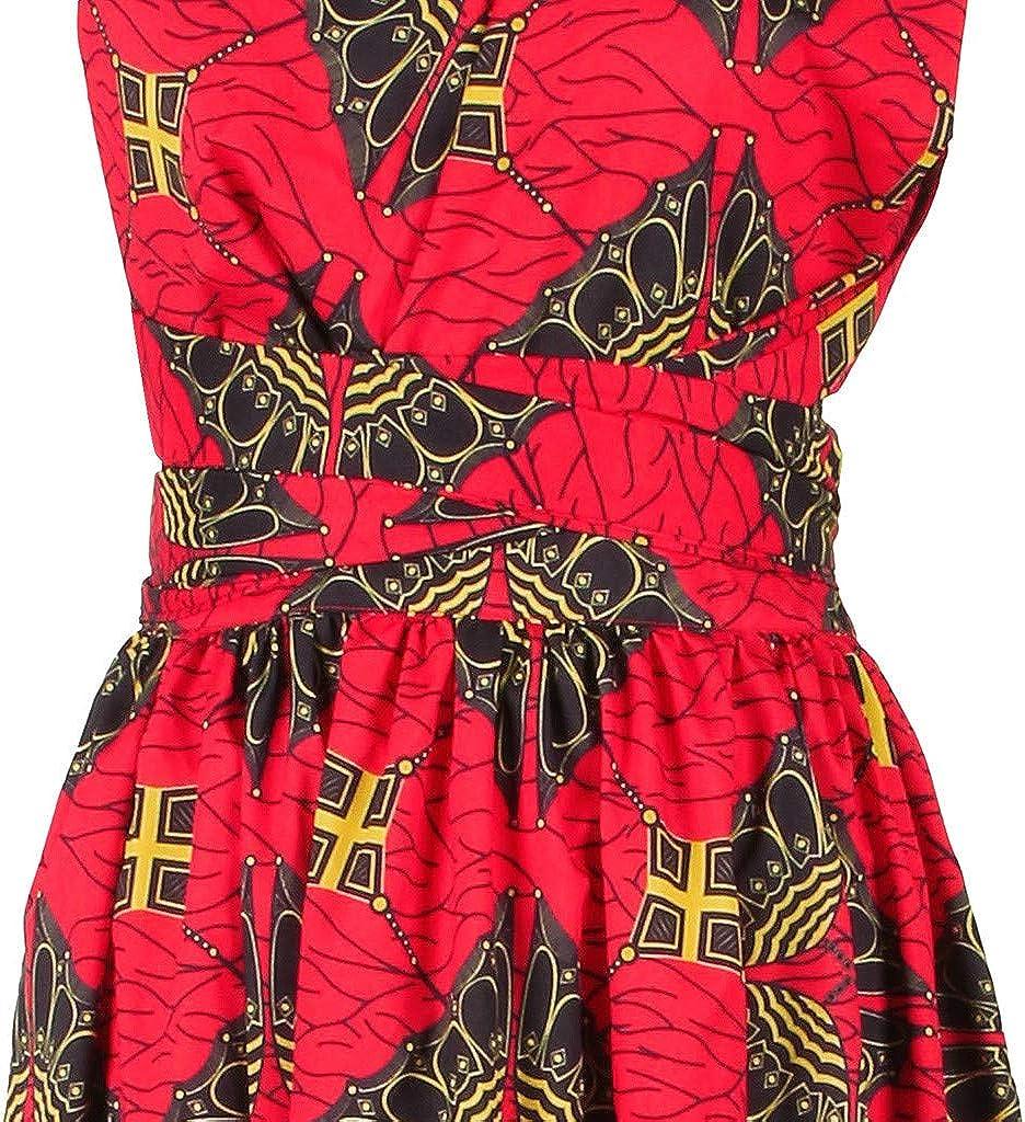 WENOVL Maxi Dresses for Women,Women African Printing Long Dress Sleeveless Dashiki Party Dress