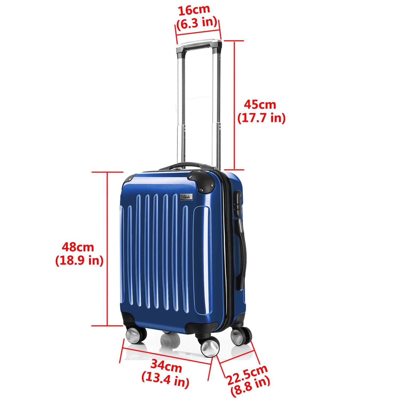LDUDU ® valise rigide à 4 doubles roues,valise cabine,bagage à main dans lavion,Bleu Foncé,M