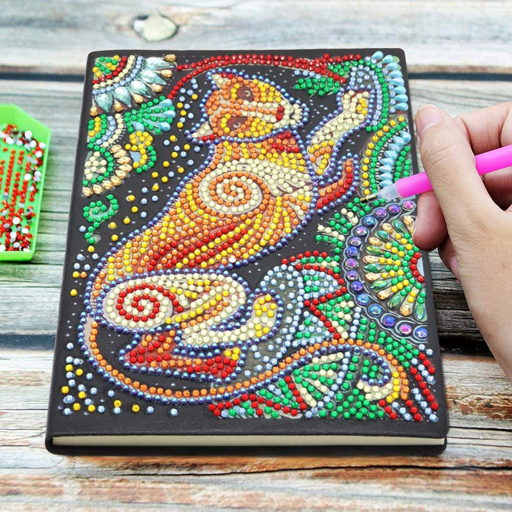 A5 Colorful Special Shaped DIY Diamond Painting 60 Pages Notebook Diary Book Christmas Birthdays Gifts Ideas Tiger Notebook with Diamond Painting Cover Diary Book DIY Journal Book