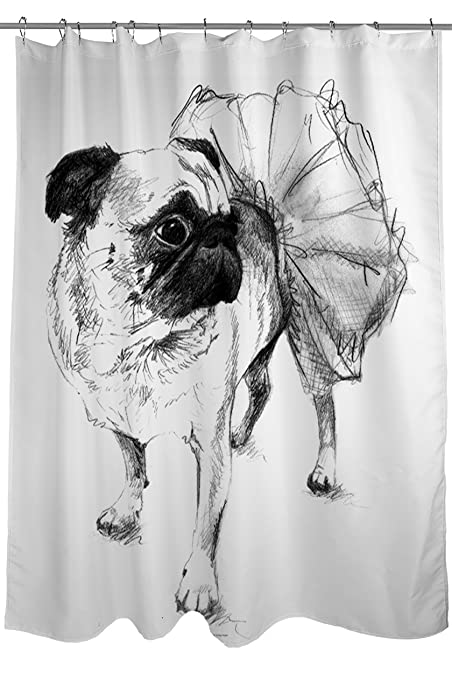 Thumbprintz Shower Curtain Ballerina Pug Chloe