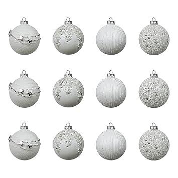 12tlg Kolekcje Weihnachtskugeln Ø6cm 2 Sorten Christbaumkugeln Baumschmuck aus Glas Weiß