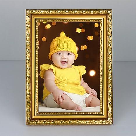 DHWJ Europeo sólido Madera portaretrato, Creativo Set Tabla Infantil Ornamento del Marco de Fotos Marco