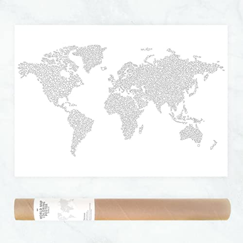 Large world map poster to color in with intricate dots pattern for large world map poster to color in with intricate dots pattern for diy wall art or gumiabroncs Images