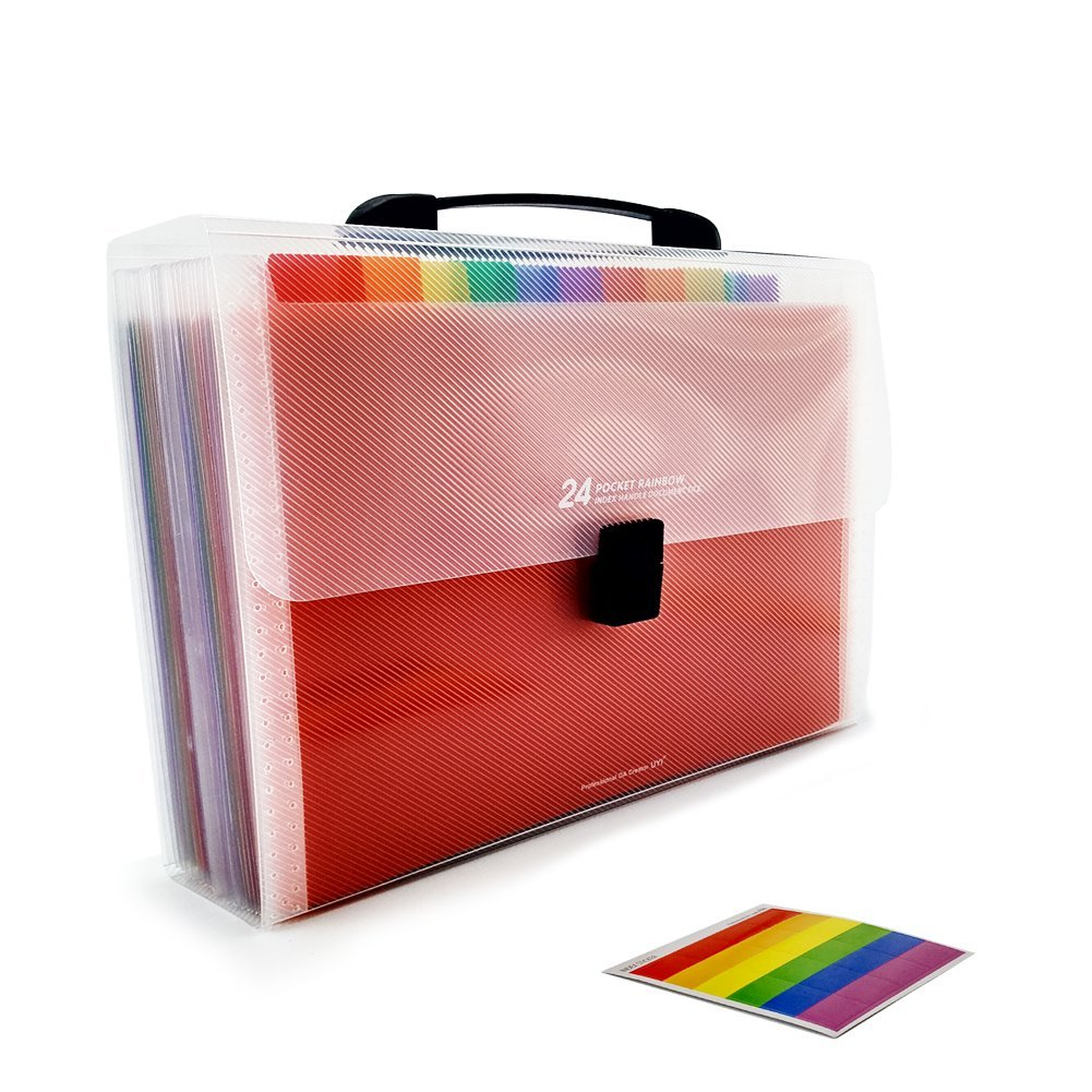 25 Pockets Accordian File Organizer, High Capacity Expanding Document Folder, A4 Plastic Expandable Portable Files Folders