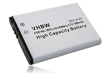 vhbw Li-Ion batería 1300mAh (3.7V) para consola Nintendo 3DS (CTR