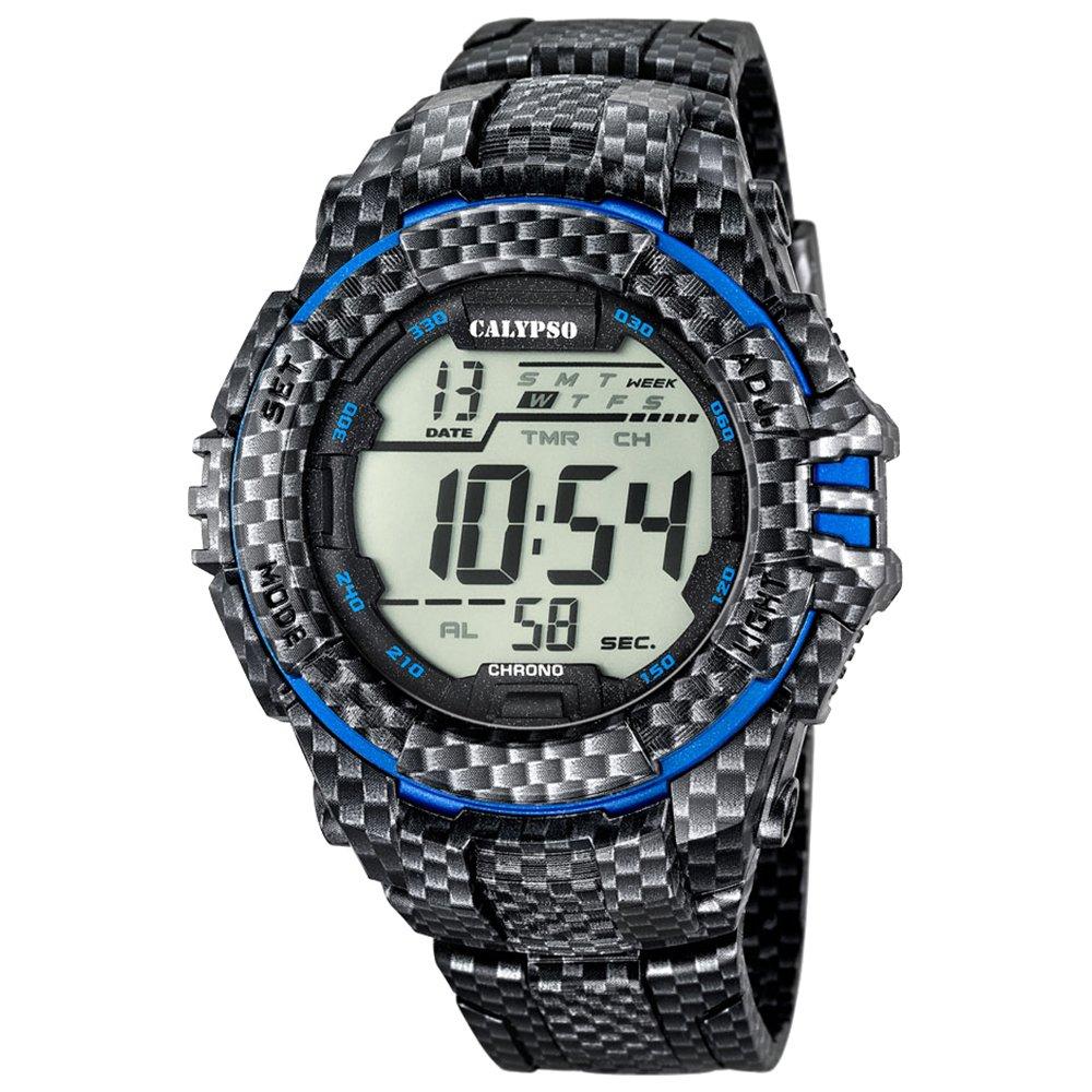 Calypso de hombre reloj de pulsera Sport Cronógrafo PU de pulsera Carbon azul reloj de cuarzo esfera negro azul uk5681/5